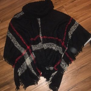 Black red and white checkered poncho